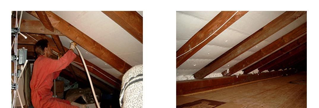 Nachträgliche Wärmedämmung am Dach mit Isoschaum